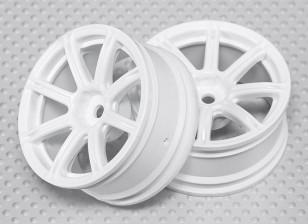 Impostare 01:10 ruota Scala (2 pezzi) Bianco 8-Spoke RC 26 millimetri Car (senza offset)