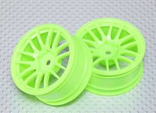 Scala 1:10 Wheel Set (2 pezzi) Fluorescente Verde Split 7 razze RC Auto 26 millimetri (3 mm Offset)