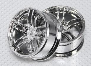 Scala 1:10 Wheel Set (2 pezzi) Chrome Split 5 razze RC Auto 26 millimetri (3 mm di offset)