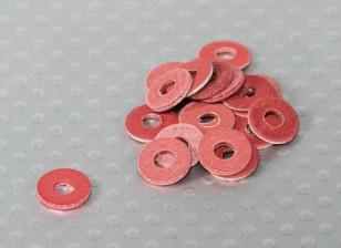 Red isolamento in fibra rondella 8 millimetri OD - 3 millimetri ID 20 Pezzo Bag