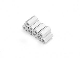Alluminio leggero Hex Sezione Spacer M3 x 10mm (10pcs / set)