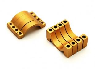 L'oro anodizzato CNC alluminio 4,5 millimetri tubo morsetto diametro 16 mm (Set di 4)