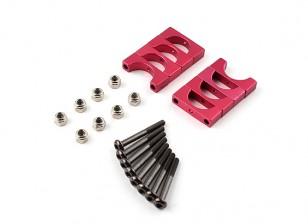 Rosso anodizzato CNC Super lega leggera tubo morsetto 12 millimetri Diametro (4set)