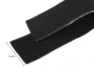 Poliestere Velcro Peel-n-stick (Nero) (1 metro)