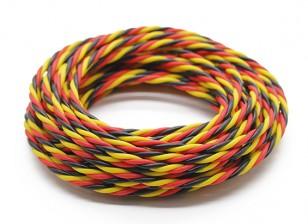 Ritorto 22 AWG Servo filo rosso / nero / colore giallo (5MTR)