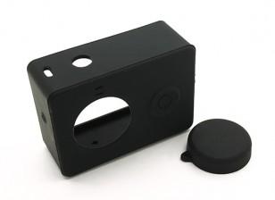 Custodia protettiva in silicone e copriobiettivo per la macchina fotografica Xiaoyi azione (nero)