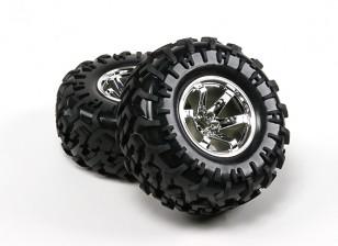 Dipartimento Funzione Pubblica ® ™ 1/10 Crawler 130 millimetri ruote e pneumatici (argento Rim) (2 pezzi)