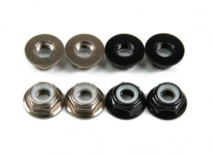 Alluminio flangia basso profilo Nyloc Dado M5 (4 Nero CW e 4 Titanium CCW)