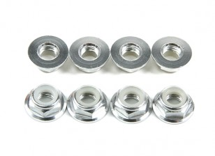 Alluminio flangia basso profilo Nyloc Dado M5 Argento (CCW) 8pcs