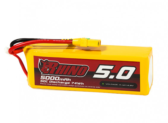 Rhino 5000mAh 4S 50C Lipo Pack w/XT90