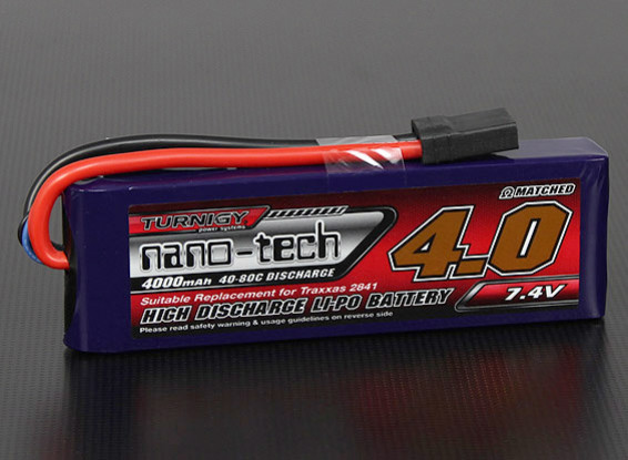 Turnigy нано-технологий 4000mAh 2S 40 ~ 80C Lipo Pack (Slash / Rustler / Бандит / Stampede)