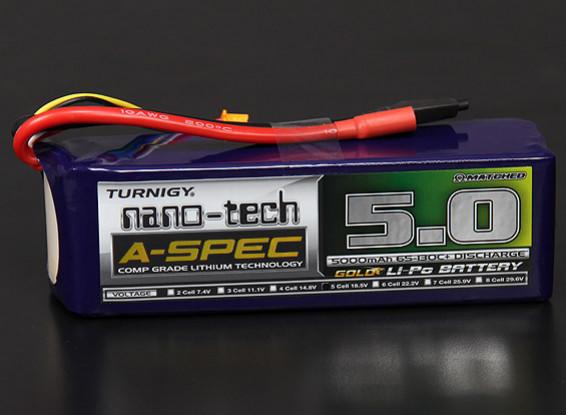 Turnigy нано-технологий A-SPEC 5000mAh 5S 65 ~ 130C Липо пакет