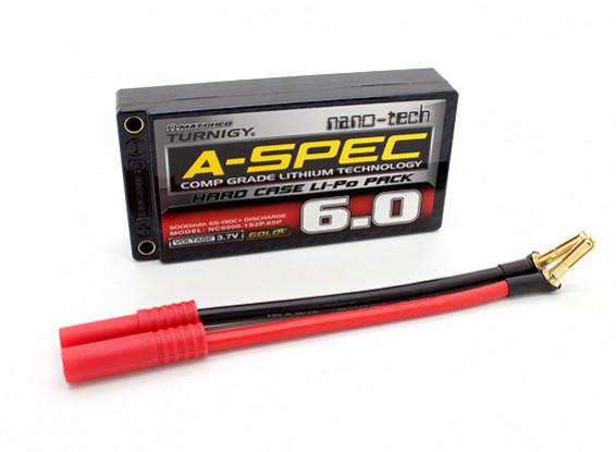 Turnigy нано-технологий A-SPEC 6000mAh 1S 65 ~ 130C Hardcase Липо пакет