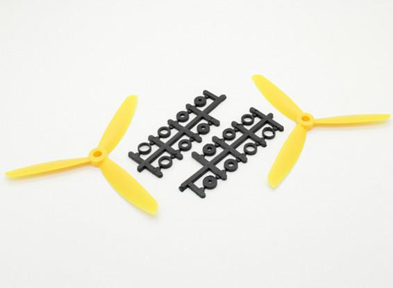 Hobbyking ™ 3-лопастной пропеллер 5x4.5 Желтый (CW / CCW) (2 шт)