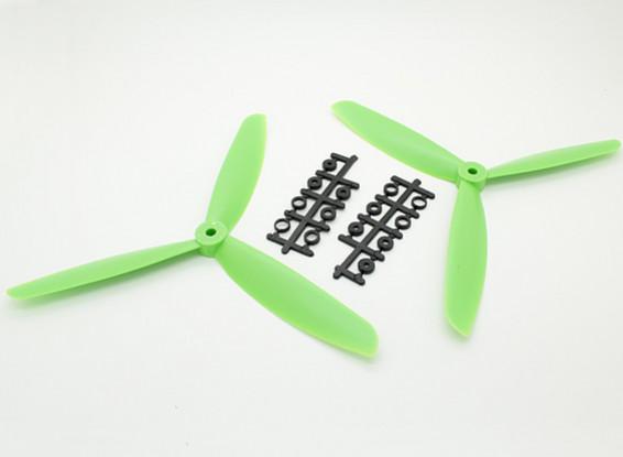 Hobbyking ™ 3-лопастной пропеллер 9x4.5 Зеленый (CW / CCW) (2 шт)