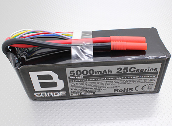 Аккумулятор B-Ранг 5000mAh 6S 25C LiPoly
