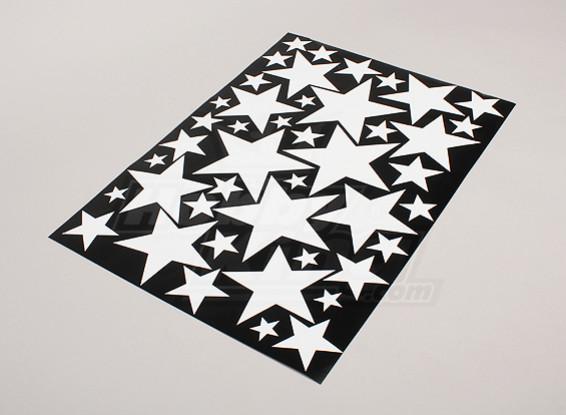 Звезда белый / черный Различные размеры Декаль лист 425mmx300mm