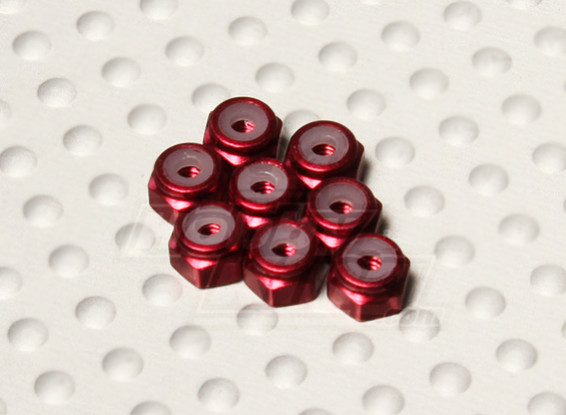 Красный анодированный алюминий M2 самоконтрящейся Nuts (8шт)