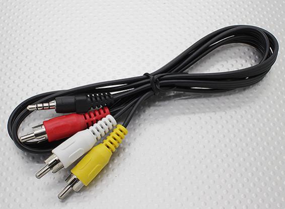 3,5 мм стерео Мужской к RCA A / V Заглушки Адаптер Lead (1000мм)