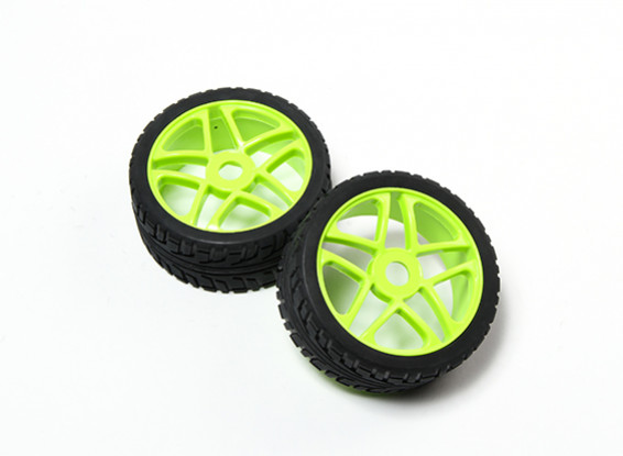 HobbyKing® 1/8 Star флуоресцентный зеленый колеса и на дороге шины 17мм Hex (2pc)