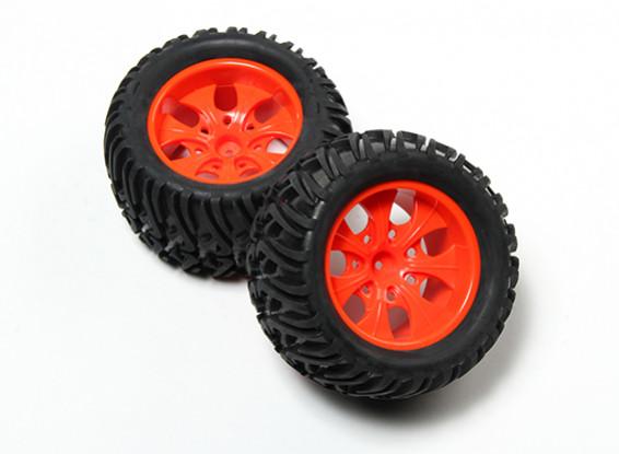 HobbyKing® 1/10 Monster Truck 7-спицевые Флуоресцентные Красное колесо & Chevron Узор Tire (2pc)