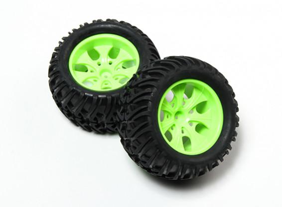 HobbyKing® 1/10 Monster Truck 7-спицевые колеса флуоресцентный зеленый и Chevron Pattern шин (2pc)