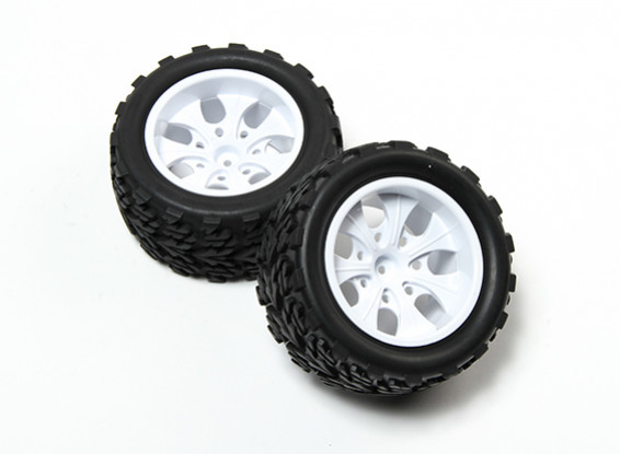 HobbyKing® 1/10 Monster Truck 7-спицевые колеса White & Дерево 12мм шаблон шин Hex (2pc)