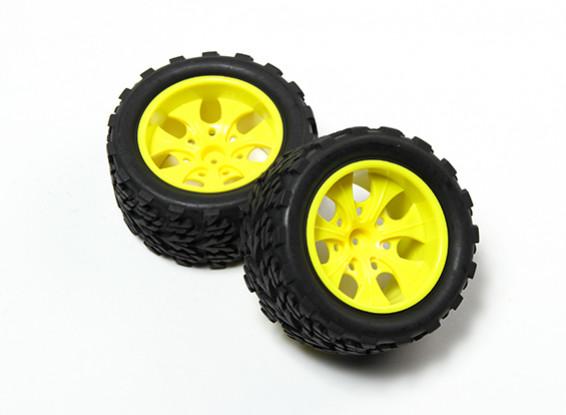 HobbyKing® 1/10 Monster Truck 7-спицевые Fluorescent Желтый колеса и дерево шаблонов шин (2pc)