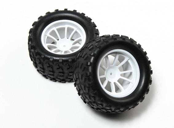 HobbyKing® 1/10 Monster Truck 10-спицевые колеса Белый и Блок 12мм шаблон шин Hex (2pc)
