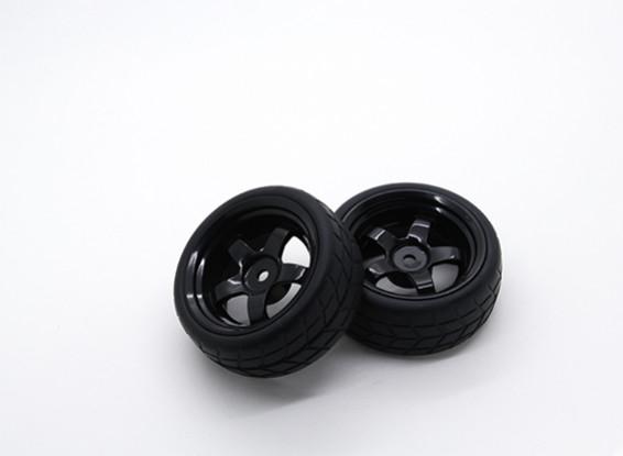 Hobbyking 1/10 колеса / шины Комплект VTC 5 Spoke сзади (черный) RC автомобилей 26мм (2шт)