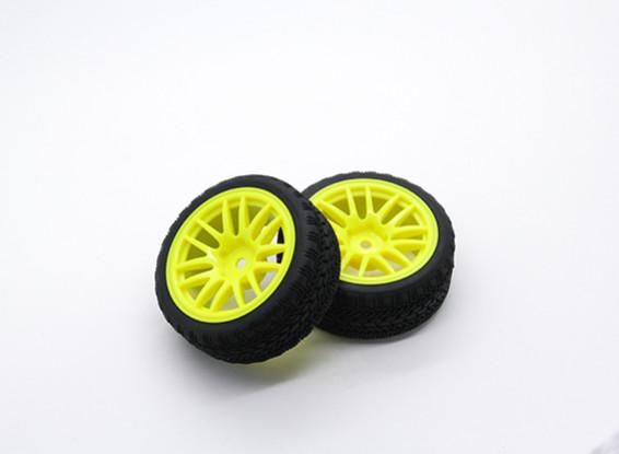 Hobbyking 1/10 колеса / шины Set AF Rally Spoke задний (желтый) RC автомобилей 26мм (2шт)
