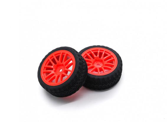 Hobbyking 1/10 колеса / шины Set AF Rally Spoke (красный) RC автомобилей 26мм (2шт)