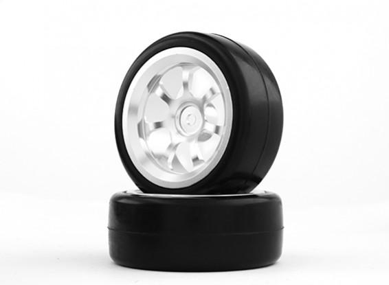 HobbyKing 1/10 алюминиевый 7-спицевые 12mm Hex Wheel (серебро) / Slick 26мм шин (2 шт / мешок)