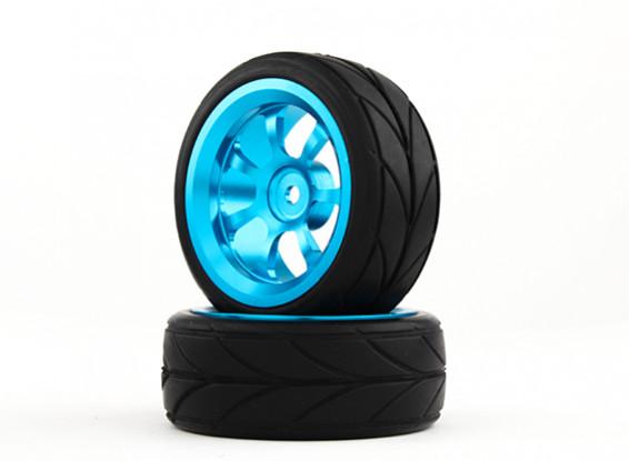 Hobbyking 1/10 алюминиевый 7-спицевые колеса 12мм Hex (синий) / V 26mm шин (2 шт / мешок)