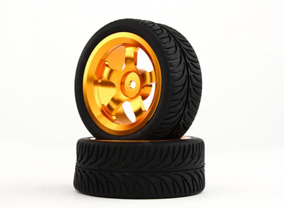 Hobbyking 1/10 Алюминий 5-спицевые 12mm Hex Wheel (Gold) / 26мм шин YY (2 шт / мешок)