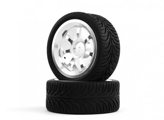 Hobbyking 1/10 Алюминий 7-спицевые 12mm Hex Wheel (серебро) / 26мм шин YY (2 шт / мешок)