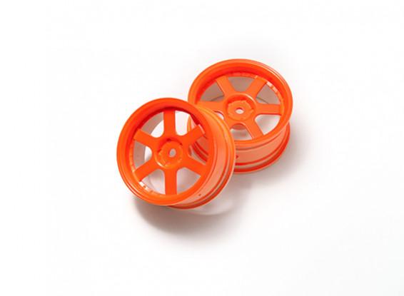1:10 Ралли колеса 6-спицевые Neon Orange (3 мм Смещение)