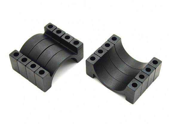 Черный анодированный алюминий CNC 4,5мм Труба Зажим 22мм Диаметр (набор из 4)