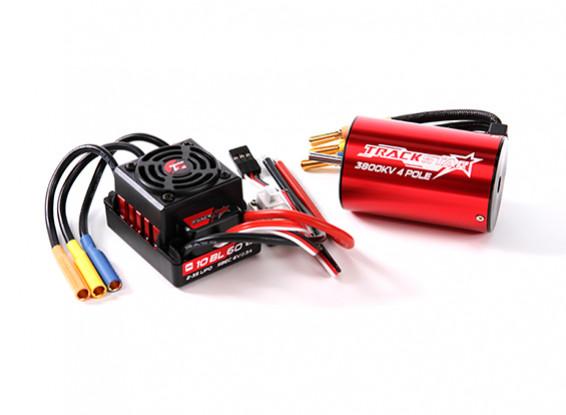 Trackstar 1 / 10th 60amp Водонепроницаемый ESC ж / 3800kv Inrunner Motor