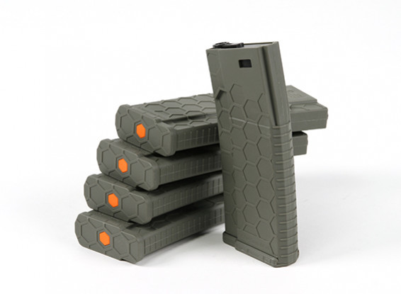 Hexmag 120 Круглый Середина крышки Журнал для M4 AEG (оливковый, 5шт коробка)