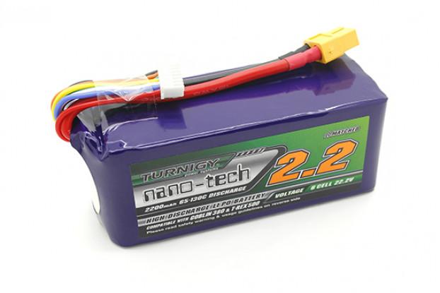 Turnigy нано-технологий 2200mAh 6S 65 ~ 130C LiPoly батареи