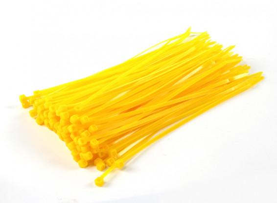 Кабельные стяжки 200 мм х 4 мм Желтый (100шт)