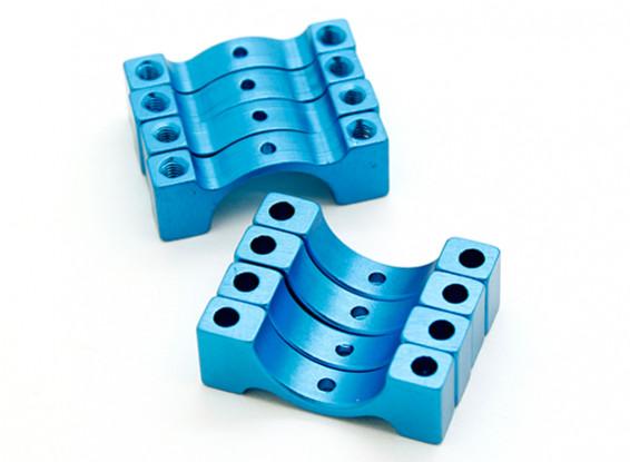 Синий анодированный CNC полукруг сплава пробки Зажим (incl.screws) 14мм