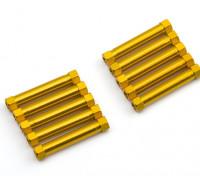 Легкий алюминиевый Круглый Раздел Spacer M3x29mm (золото) (10шт)