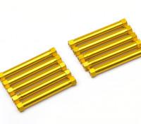 Легкий алюминиевый Круглый Раздел Spacer M3x38mm (золото) (10шт)
