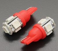 Мозоли СИД Свет 12V 1.0W (5 LED) - красный (2 шт)