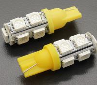 Мозоли СИД Свет 12V 1.8W (9 LED) - желтый (2 шт)