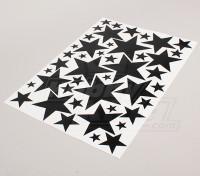 Звезда черный / белый Различные размеры Декаль лист 425mmx300mm