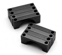 Черный анодированный CNC полукруг сплава пробки Зажим (incl.screws) 28мм