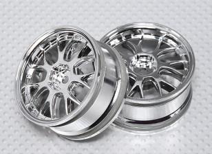 Набор 1:10 Масштаб колеса (2шт) Chrome 'Y' 7-спицевые RC автомобилей 26мм (без смещения)